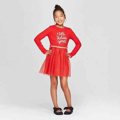 Girls' Holiday Sparkle Dress - RED - Cat & Jack XS Large MEDIUM XL #k82 Cherry Girls Dress