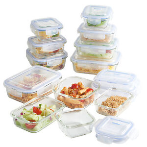 VonShef 12 Piece Glass Container Food Storage Set with Lids Free 2 Year Warranty