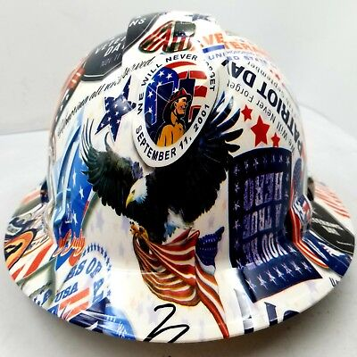 Full Brim Hard Hat Custom Hydro Dipped Patriots Day Never Forget Very Limited
