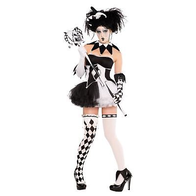Damen Harlekin Kostüm Tricksterina Hofnarr Clown Halloween Kostüm (Damen Hofnarr Kostüm Kostüm)