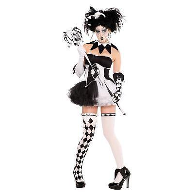 Mujer Arlequín Disfraz Tricksterina Bufón Payaso Disfraz de Halloween