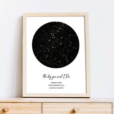 Custom Night Sky Map, Star Poster, Wedding Gift Star Print Last Minute Gift Idea ()