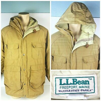 Ll Bean Mens Utility Heavy Puffy Coat Full Zip Winter Hooded Jacket Sz Medium M