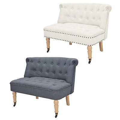 Stoff Sofa, Sofa Loveseat Sessel (vidaXL Sofa 2-Sitzer Loveseat Stoff Couch Sessel Polstersofa Weiß/Dunkelgrau)