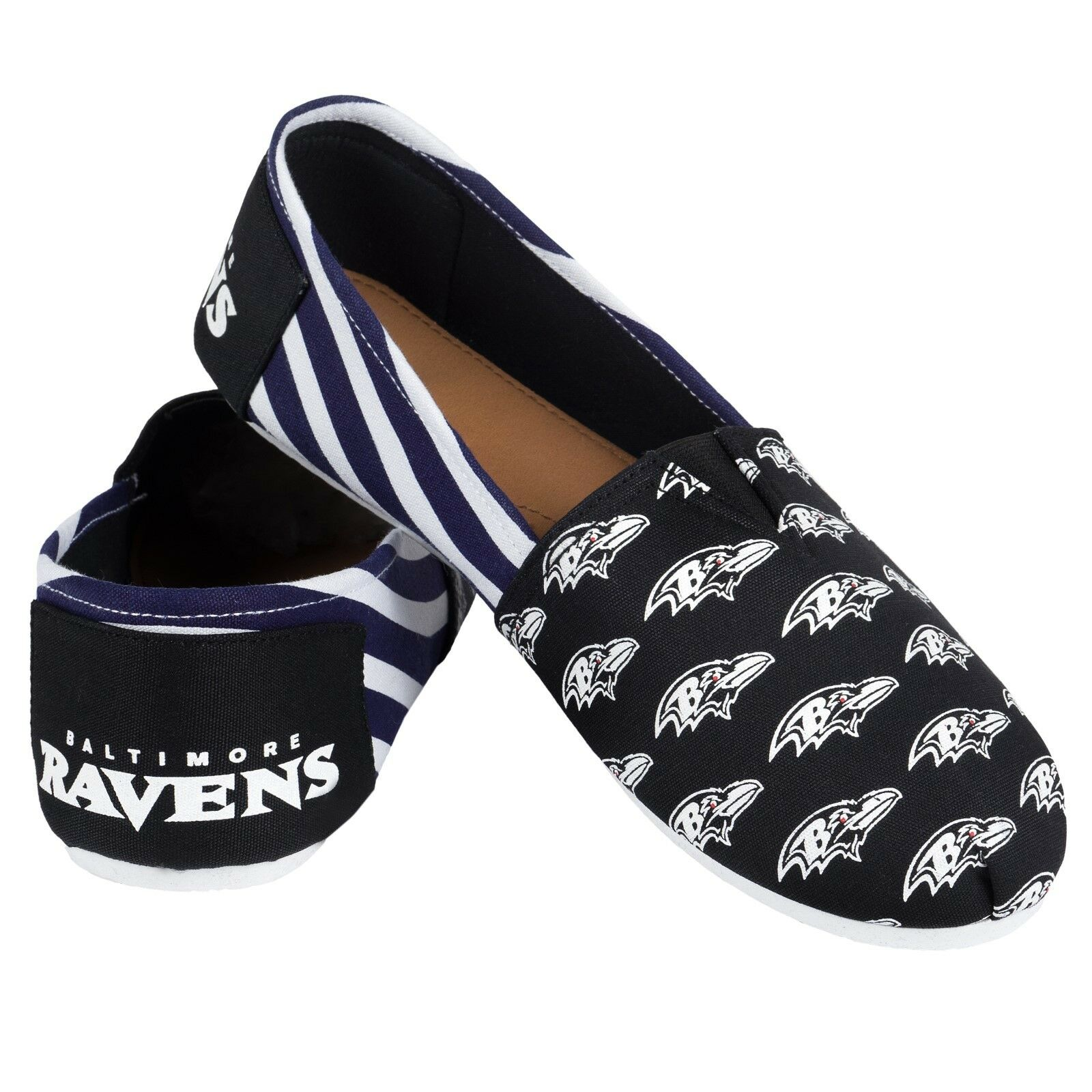 NFL Football Team Logo Stripe Womens Slip On Canvas Shoes - Choose Team