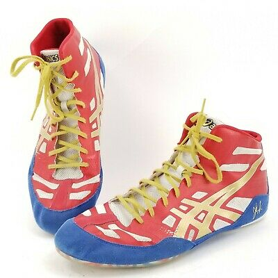 da1cc5720a5d9 ASICS J3A1Y Wrestling Shoe Boot Red Blue Gold Mens Size 14 JB Elite