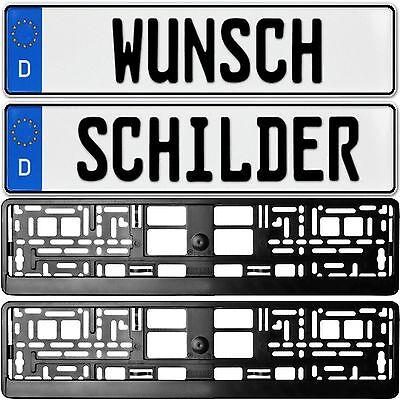 SET 2 x KFZ Kennzeichen PKW Anhänger Fahrradträger + 2 KENNZEICHENHALTER SCHWARZ