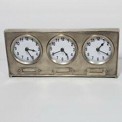 World Market 3 Time Zone Clock World Travel Desk Mantel Brushed Silver