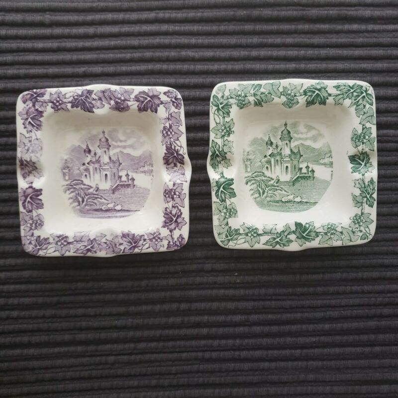 Set of 2 Maling- New Castle-On-Tyne Square Ashtrays