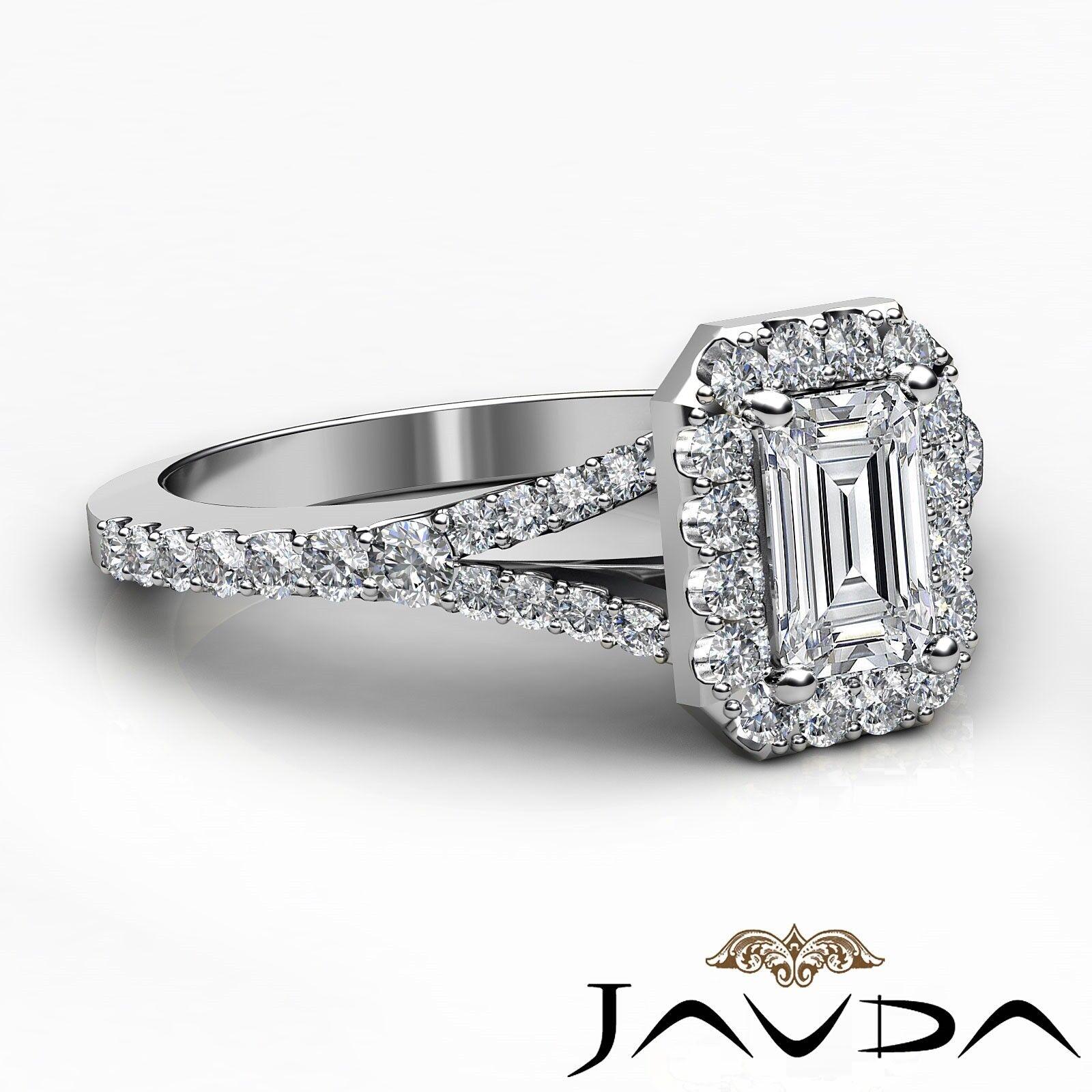 1.23ctw Halo U Pave Stone Emerald Diamond Engagement Ring GIA H-SI1 White Gold 5