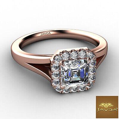 Asscher Diamond Engagement Halo Pre-Set Ring GIA F VS1 18k Yellow Gold 0.92Ct 8