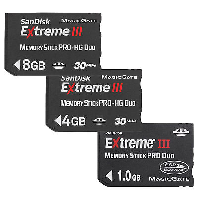 1/4/8GB Genuine SanDisk Memory Stick Pro Duo Extreme III MS for PSP Camera