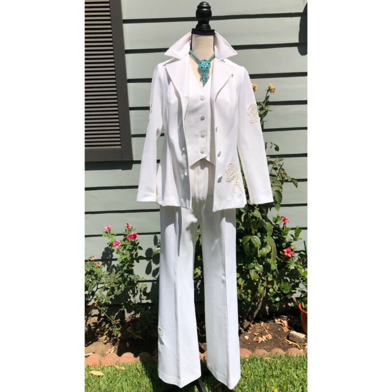 Vtg 70's Women's Bow Embroidered Western Suit 3 Pc White Vest Jacket SZ S