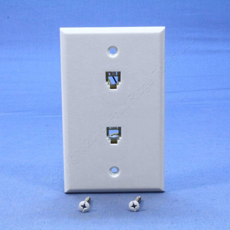 Leviton White Flush Mount DUPLEX Phone Jack Wall Plate Telephone 6P4C C0254-W