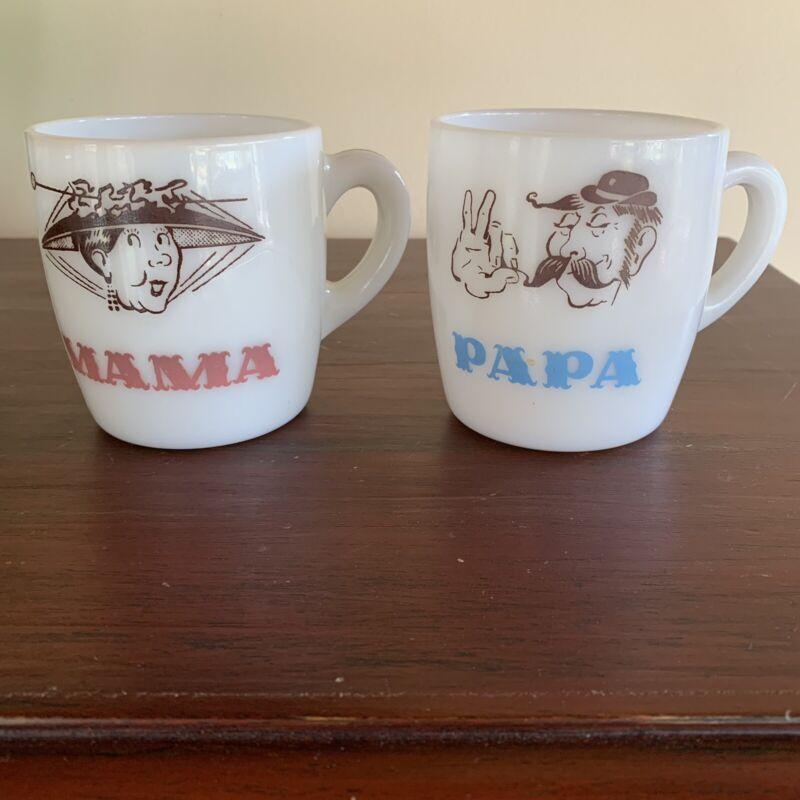 Vintage Milk Glass Mama Papa Cups Mugs Hazel Atlas?