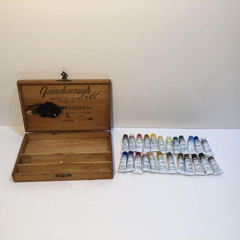 Vintage Lot of 24 Tubes Grumbacher Gainsborough Oil Paint Tubes .18 Fl. Oz. +Box