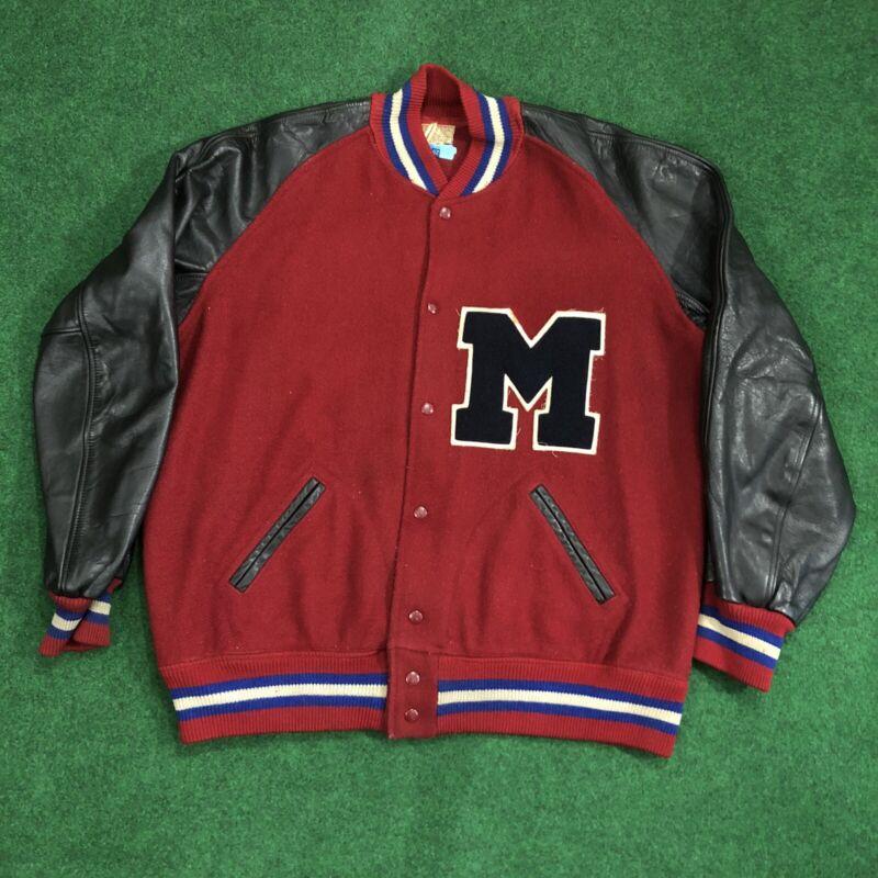 Vintage University Of Mississippi Leather Sleeve Letterman's Jacket Size XL