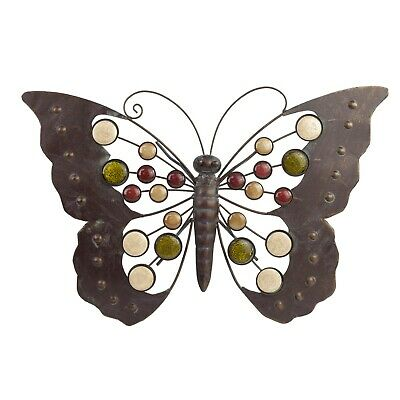 Large Metal Butterfly Garden Wall Art Ornament with Decorative Stones ()