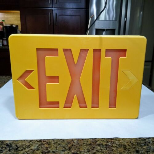 """Vintage Lighted Exit Sign Plastic Tested and Working 12-3/4"""" x 8-1/2"""" x 1-3/4"""""""