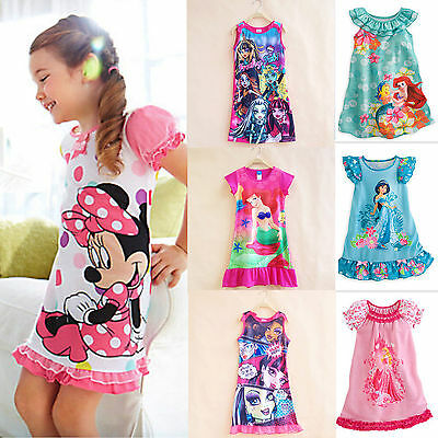 Kids Girls Summer Cartoon Princess Dress Sleepwear Summer Nightgown Nightwear - Princess Night Gown