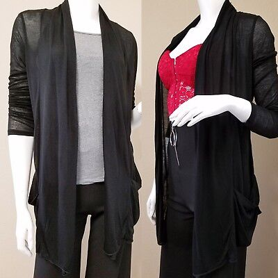 Thin Sheer Rayon Cardigan Loose_Open Front Drape_Long Sleeve Top_Plus Size