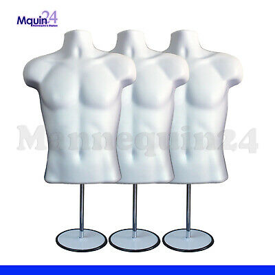 3 Pack Mannequin Male Torsos 3 Stands 3 Hangers White Men Dress Forms
