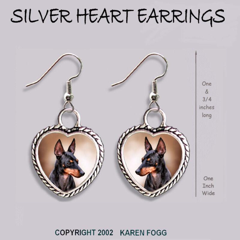 TOY MANCHESTER TERRIER DOG - HEART EARRINGS Ornate Tibetan Silver