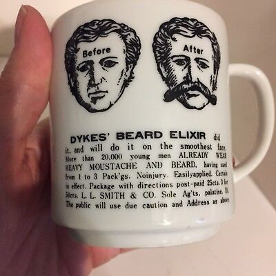 Vintage Moustache Mustache Mug With Ad for Dykes' Beard Elixir Made in Japan