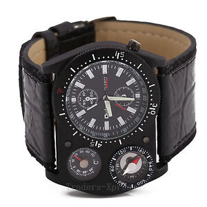 OULM Cool Military Army Quartz Wrist Watch Leather Sports Hours Mens Boy US Ship