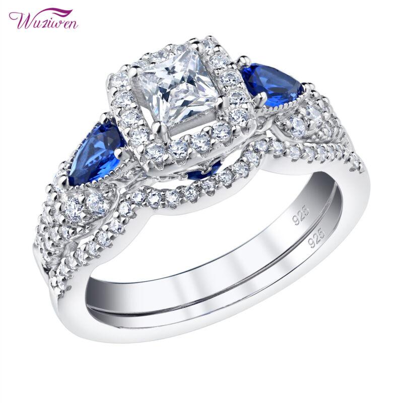 Wuziwen Engagement Wedding Ring Set 1.5ct Princess Aaaa Cz Blue Sterling Silver