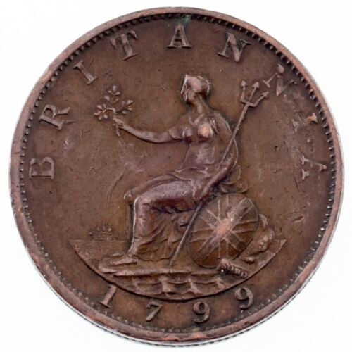 1799 Great Britain 1/2 Penny in Extra Fine Condition KM #647