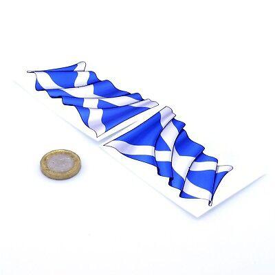 Scotland Waving Flag Stickers x2 80mm Car Motorcycle Helmet Vinyl Decals Saltire