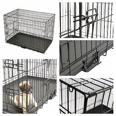 "24"" Pet Animal Kennel Pen Cat Dog Crate Carrier Travel Folding Cage House 2 Door"