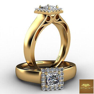 Halo Filigree Princess Diamond Engagement French Pave Set Ring GIA F VVS1 0.7Ct