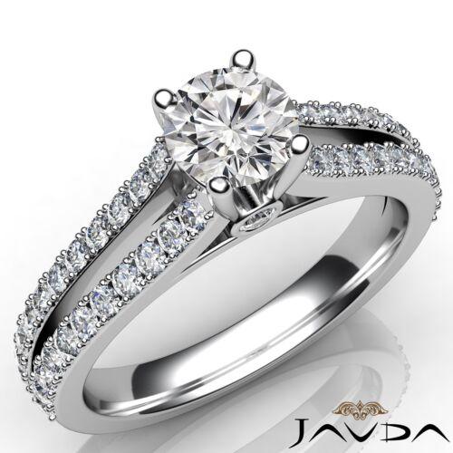 Round Diamond Engagement Split Shank Ring GIA F Color VS1 14k White Gold 1.35ct