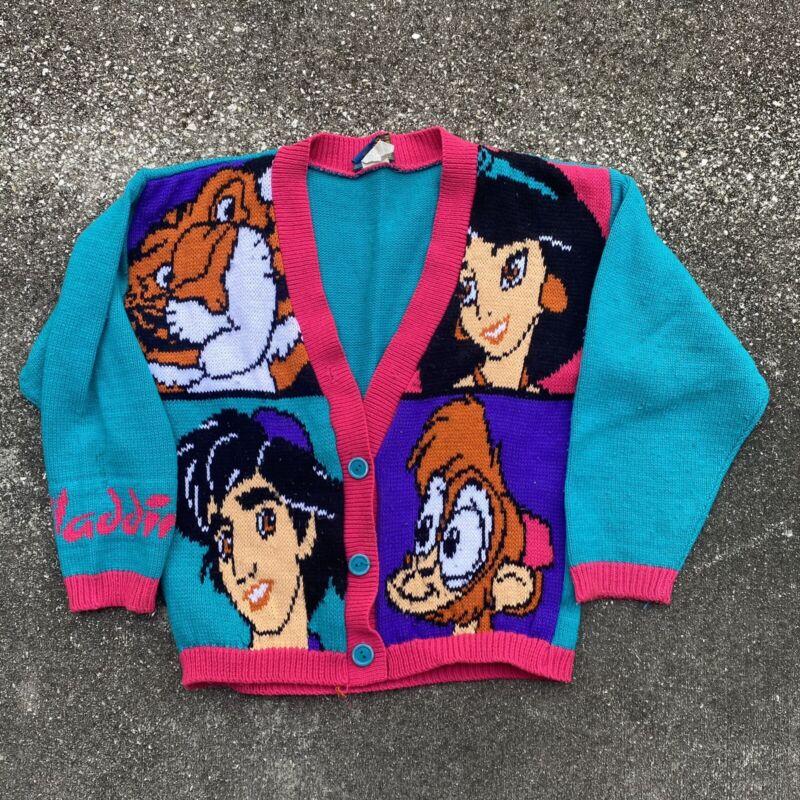 Vintage 90s Rare Disneys Aladdin Color Blocked Childrens Knit Cardigan Size 7/8
