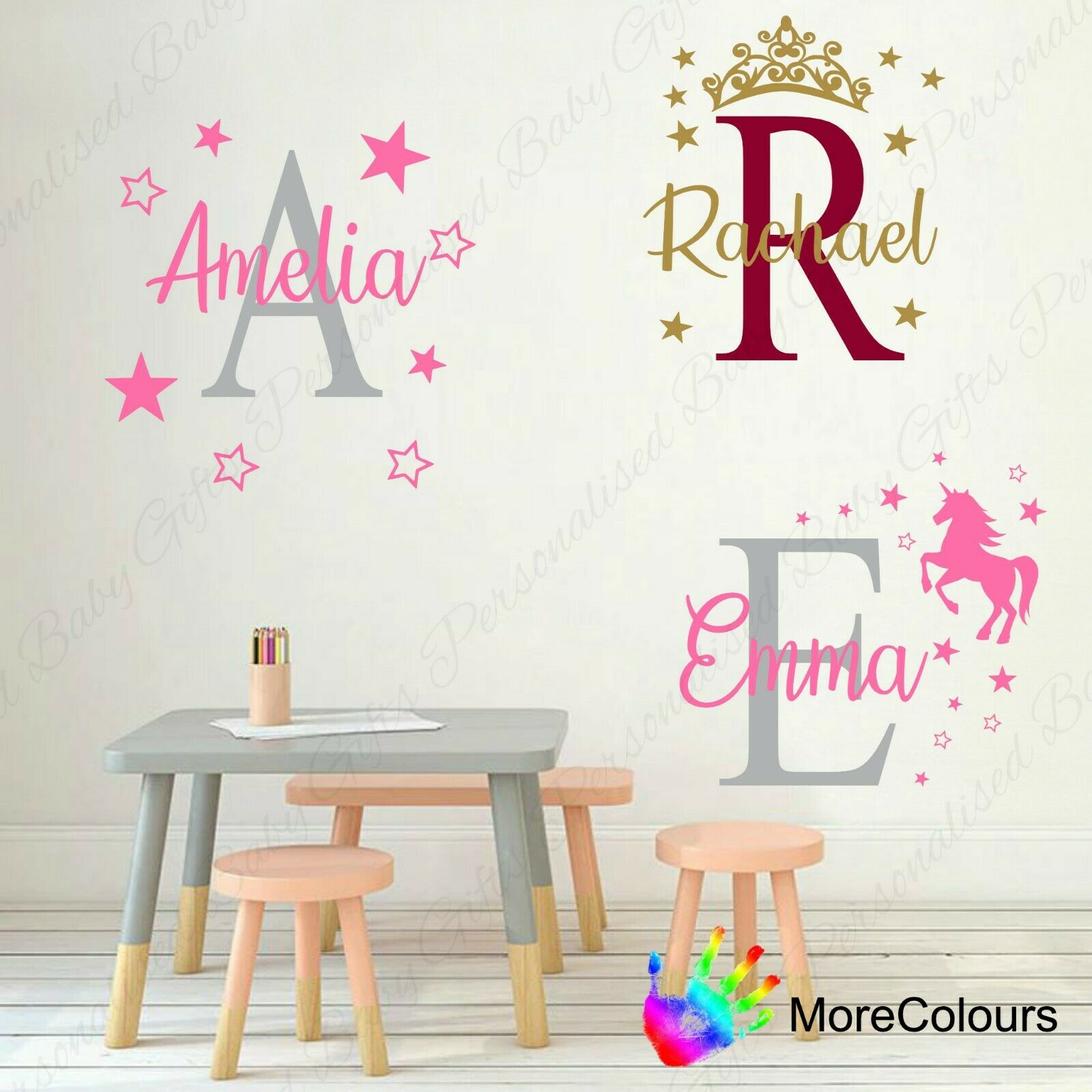 Home Decoration - Personalised Name Wall Art Sticker Letter Baby Girls Bedroom Nursery Decal Cot