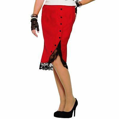 Damen 1940er Jahre Rot Bleistiftrock Erwachsene Vintage Knielang Kostüm - Spitze Langer Rock Kostüm