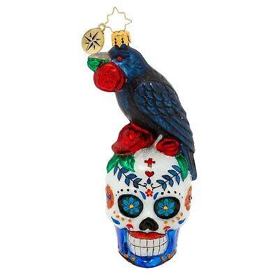 [Christopher Radko Ornaments - RAVEN & ROSES Halloween Ornament 1020413 Skull</Title]