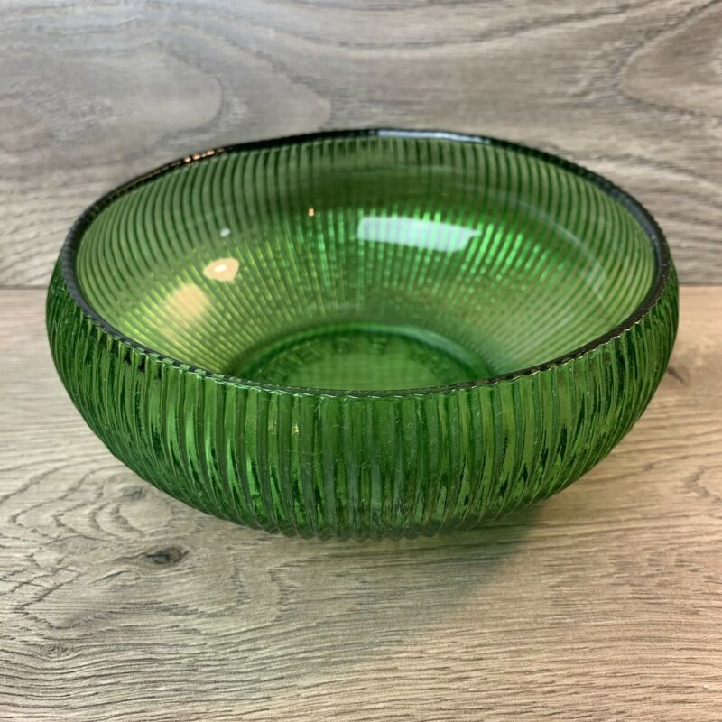 """E.O. Brody Co. Cleveland Depression Glass Green Ribbed 6 in"""" Candy Dish Bowl"""