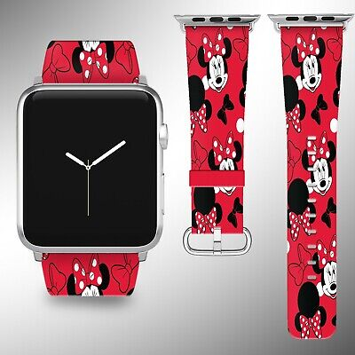 Minnie Mouse Disney Apple Watch Band 38 40 42 44 mm Fabric Leather Strap 01 ()