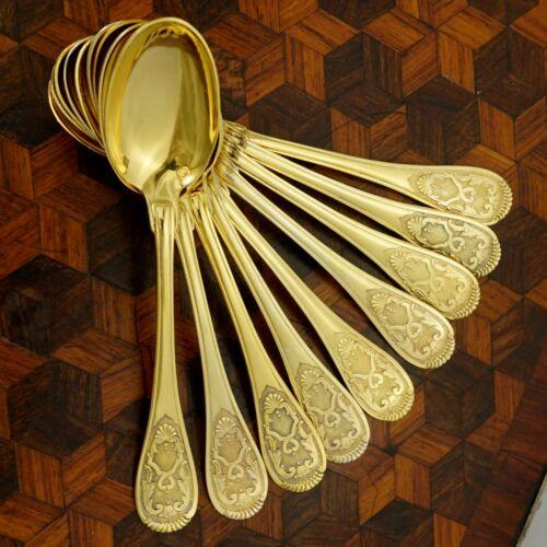Antique French Sterling Silver Gilt Vermeil Demitasse Spoons Set, Moka, Espresso