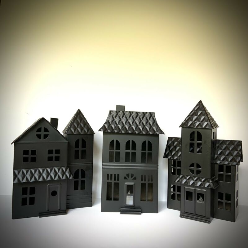 Hyde & Eek Metal Haunted Mansion Townhouse Lights up Halloween Black YOUR CHOICE