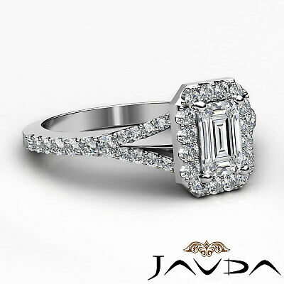 Halo Split Shank U Pave Set Emerald Shape Diamond Engagement Ring GIA H VS2 1Ct 2