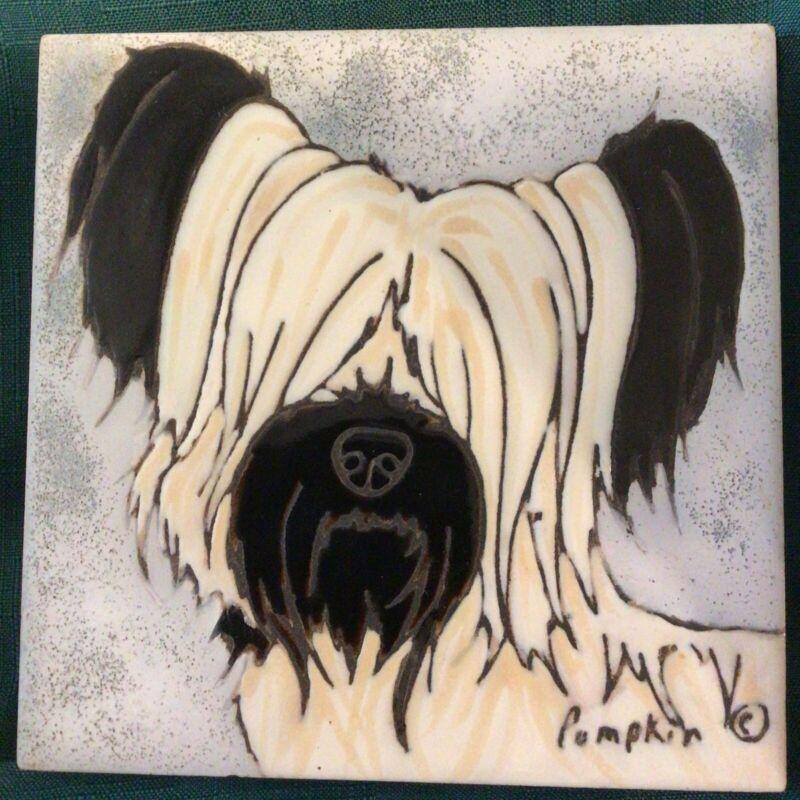 "SKY TERRIER DOG - Hand Painted Tile by Pumpkin Tile - 6 x 6"" TRIVET"