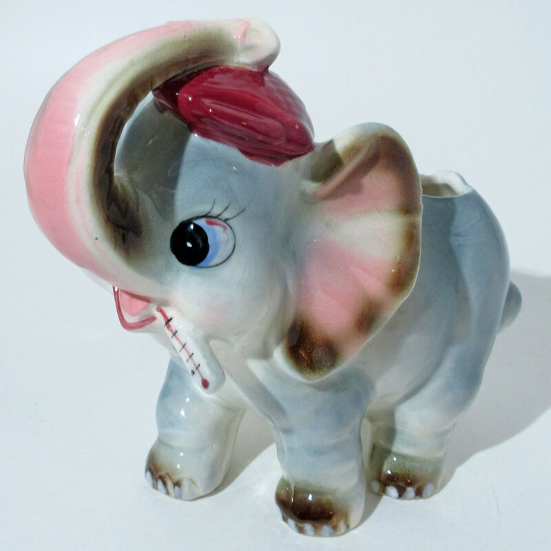 VTG MCM KITSCH ANTHROPOMORPHIC ELEPHANT w THERMOMETER & ICE PACK NURSERY PLANTER