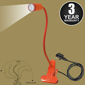 LED Flexible USB Reading Light Clip-on Beside Bed Table Desk Lamp - Orange MAINS