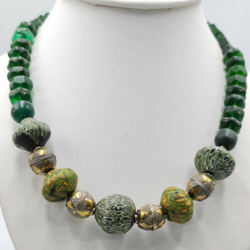 Antique afghan old glass beads & silver beads necklace 18 inches