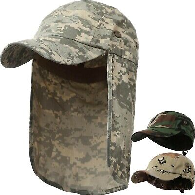 Military Style Sun Shield Hat with Earflap Camo Army Hiking Outdoor Cap  Camping ()