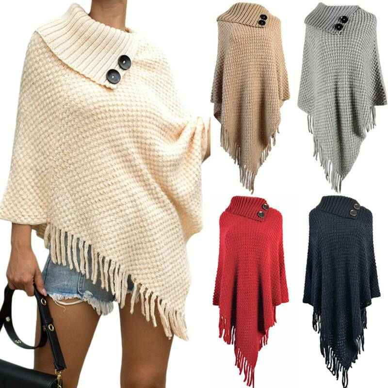 Damen Poncho Strick Cape Warm Gestrickte Pullover Quaste Baggy Mantel Top